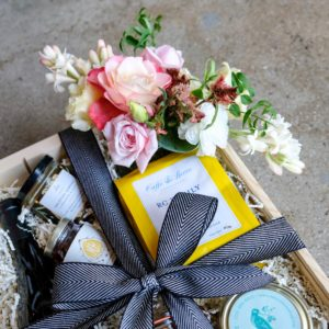 Gift Box showing a small flower bouquet